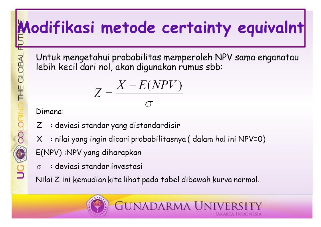 Modifikasi metode certainty equivalnt Untuk mengetahui probabilitas memperoleh NPV sama enganatau lebih kecil dari nol, akan digunakan rumus sbb: Dimana: Z: deviasi standar yang distandardisir X: nilai yang ingin dicari probabilitasnya ( dalam hal ini NPV=0) E(NPV):NPV yang diharapkan  : deviasi standar investasi Nilai Z ini kemudian kita lihat pada tabel dibawah kurva normal.