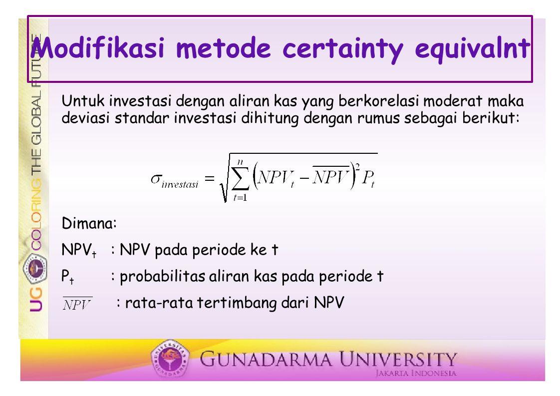 Modifikasi metode certainty equivalnt Untuk investasi dengan aliran kas yang berkorelasi moderat maka deviasi standar investasi dihitung dengan rumus sebagai berikut: Dimana: NPV t : NPV pada periode ke t P t : probabilitas aliran kas pada periode t : rata-rata tertimbang dari NPV