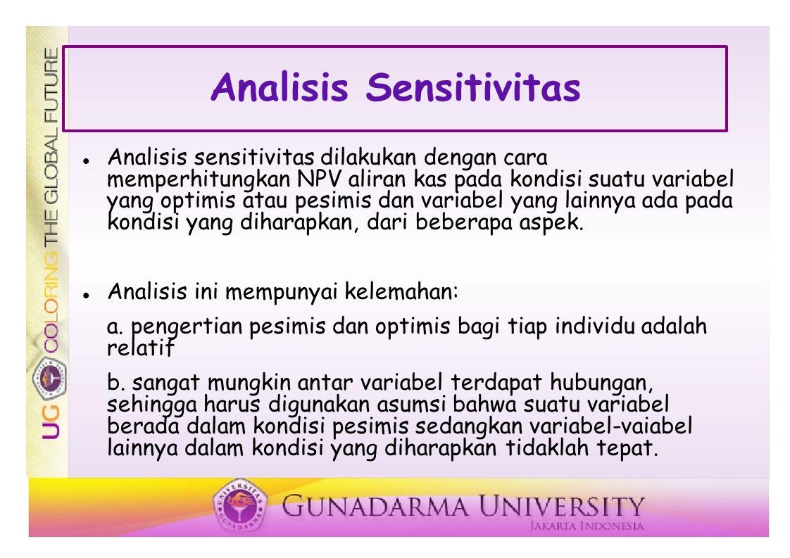 Analisis Sensitivitas Analisis sensitivitas dilakukan dengan cara memperhitungkan NPV aliran kas pada kondisi suatu variabel yang optimis atau pesimis dan variabel yang lainnya ada pada kondisi yang diharapkan, dari beberapa aspek.