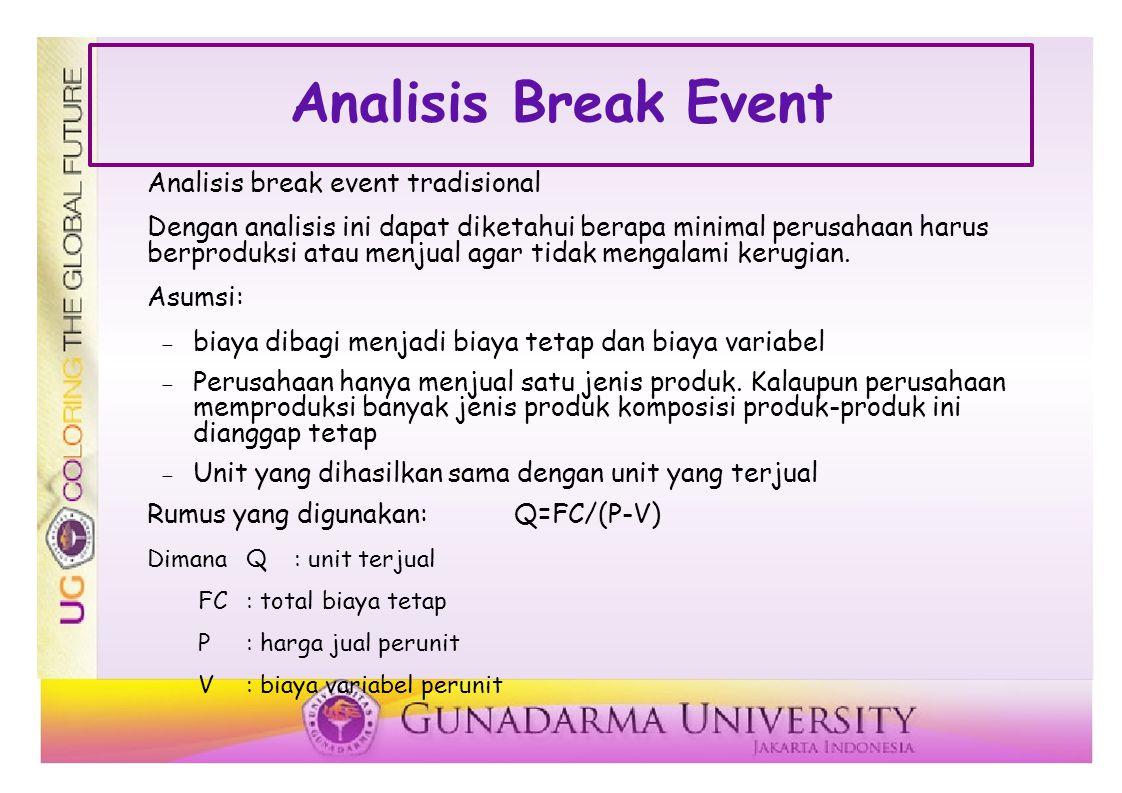 Analisis Break Event Analisis break event tradisional Dengan analisis ini dapat diketahui berapa minimal perusahaan harus berproduksi atau menjual agar tidak mengalami kerugian.
