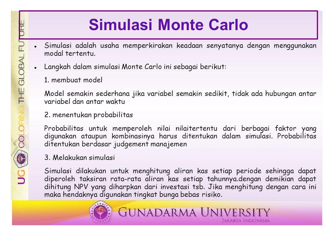 Simulasi Monte Carlo Simulasi adalah usaha memperkirakan keadaan senyatanya dengan menggunakan modal tertentu. Langkah dalam simulasi Monte Carlo ini
