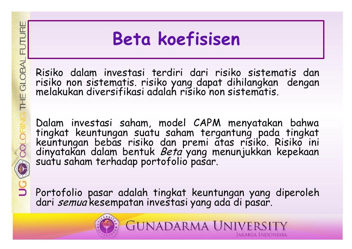 Beta koefisisen Risiko dalam investasi terdiri dari risiko sistematis dan risiko non sistematis.