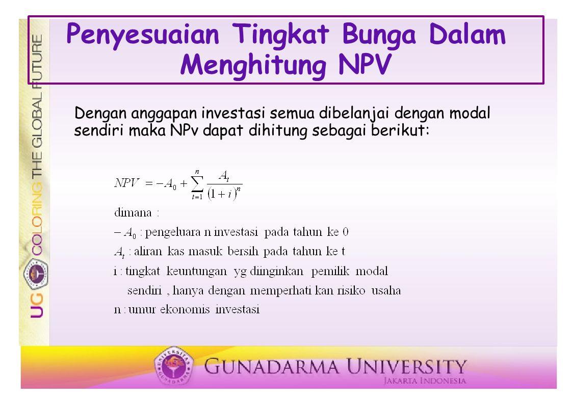 Dengan anggapan investasi semua dibelanjai dengan modal sendiri maka NPv dapat dihitung sebagai berikut: