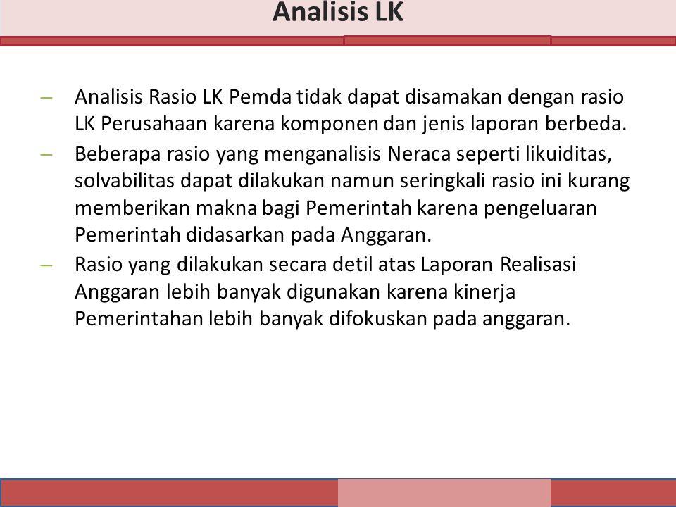 – Analisis Rasio LK Pemda tidak dapat disamakan dengan rasio LK Perusahaan karena komponen dan jenis laporan berbeda.
