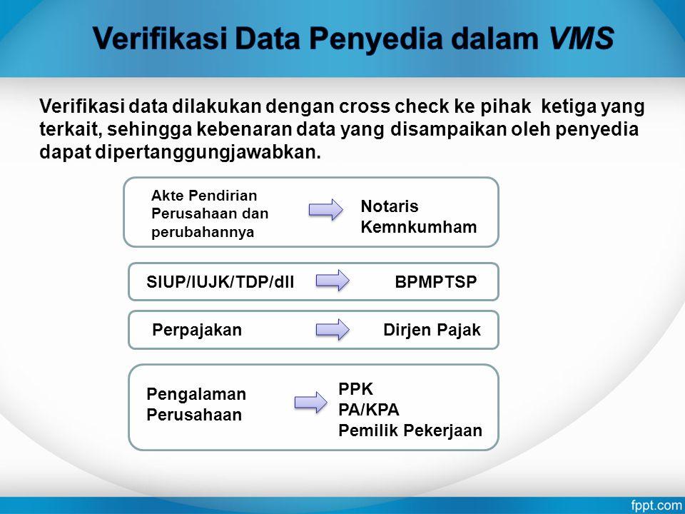 Verifikasi data dilakukan dengan cross check ke pihak ketiga yang terkait, sehingga kebenaran data yang disampaikan oleh penyedia dapat dipertanggungj