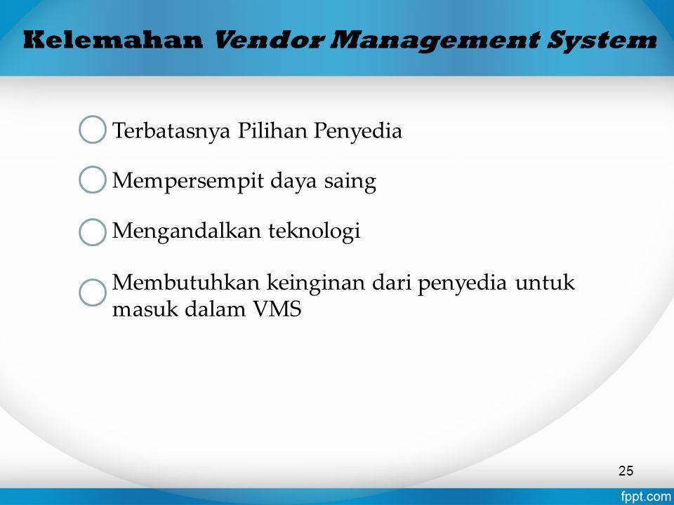 Kelemahan Vendor Management System Terbatasnya Pilihan Penyedia Mempersempit daya saing Mengandalkan teknologi Membutuhkan keinginan dari penyedia unt