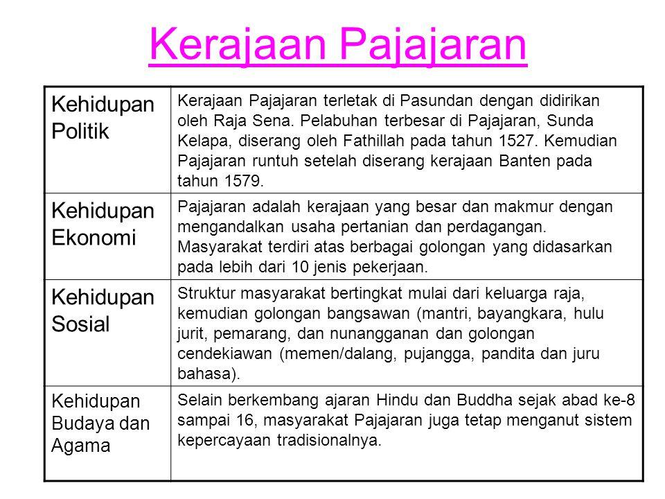 Kerajaan Pajajaran Kehidupan Politik Kerajaan Pajajaran terletak di Pasundan dengan didirikan oleh Raja Sena. Pelabuhan terbesar di Pajajaran, Sunda K
