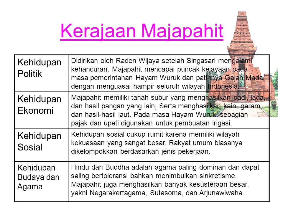 Kerajaan Majapahit Kehidupan Politik Didirikan oleh Raden Wijaya setelah Singasari mengalami kehancuran. Majapahit mencapai puncak kejayaan pada masa