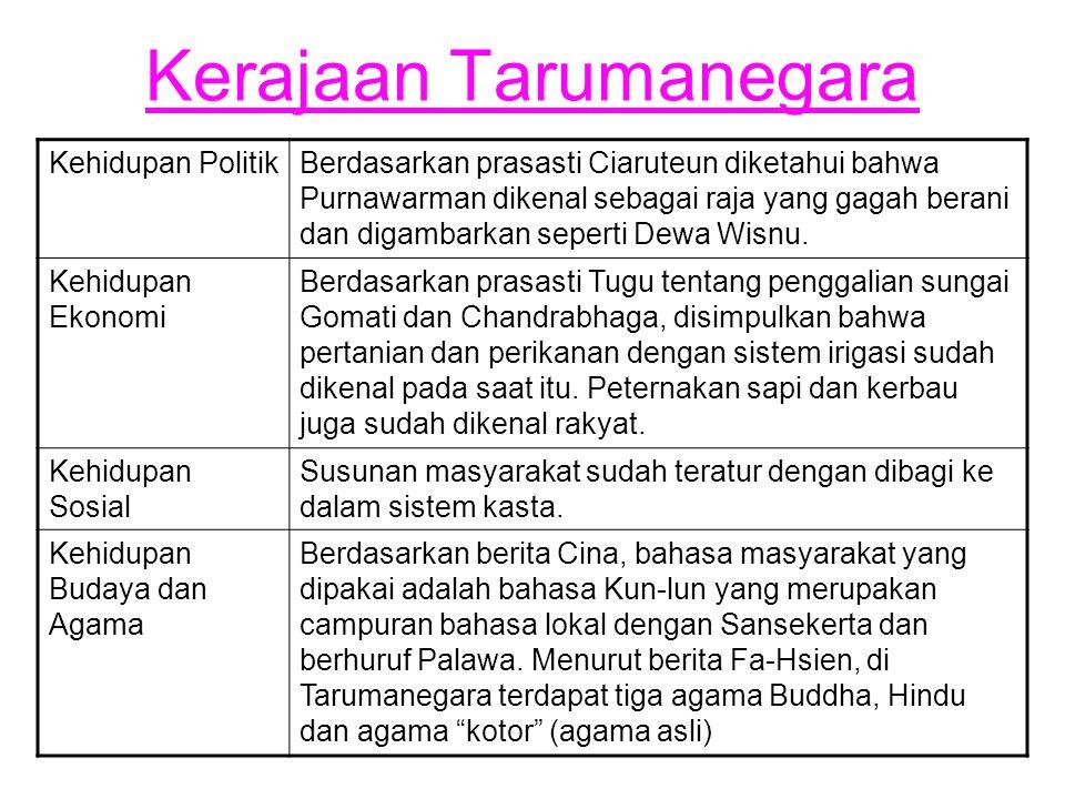 Kerajaan Tarumanegara Kehidupan PolitikBerdasarkan prasasti Ciaruteun diketahui bahwa Purnawarman dikenal sebagai raja yang gagah berani dan digambark