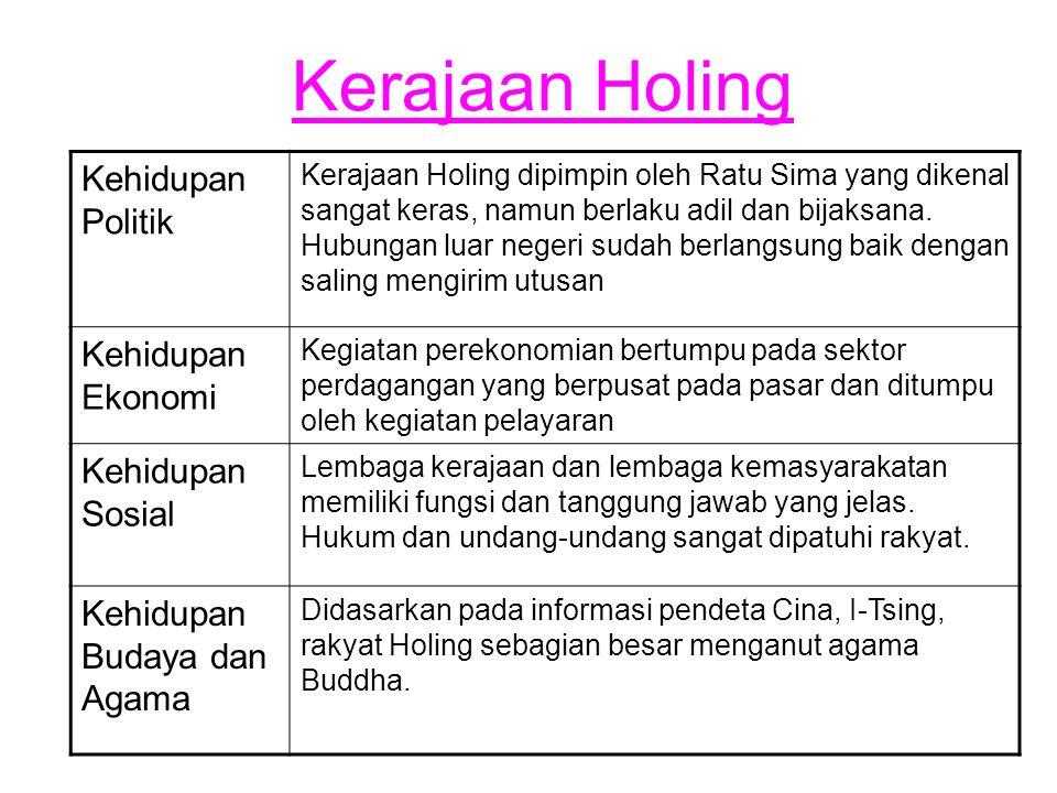 Kerajaan Holing Kehidupan Politik Kerajaan Holing dipimpin oleh Ratu Sima yang dikenal sangat keras, namun berlaku adil dan bijaksana. Hubungan luar n