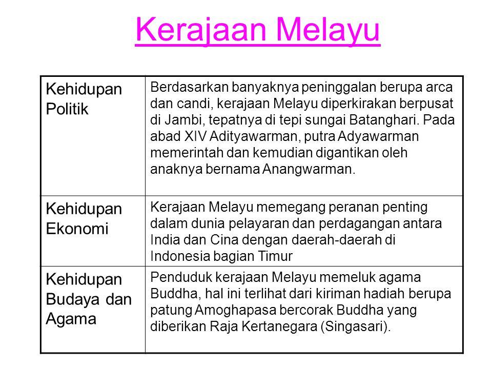 Kerajaan Melayu Kehidupan Politik Berdasarkan banyaknya peninggalan berupa arca dan candi, kerajaan Melayu diperkirakan berpusat di Jambi, tepatnya di