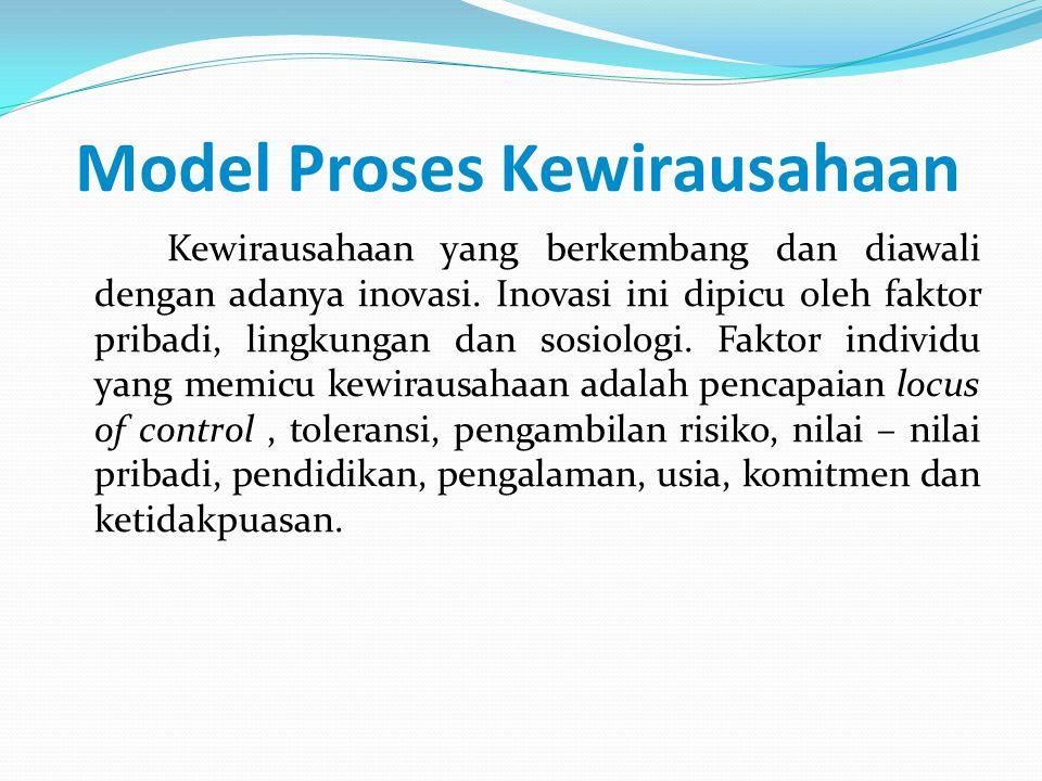 Model Proses Kewirausahaan Kewirausahaan yang berkembang dan diawali dengan adanya inovasi. Inovasi ini dipicu oleh faktor pribadi, lingkungan dan sos