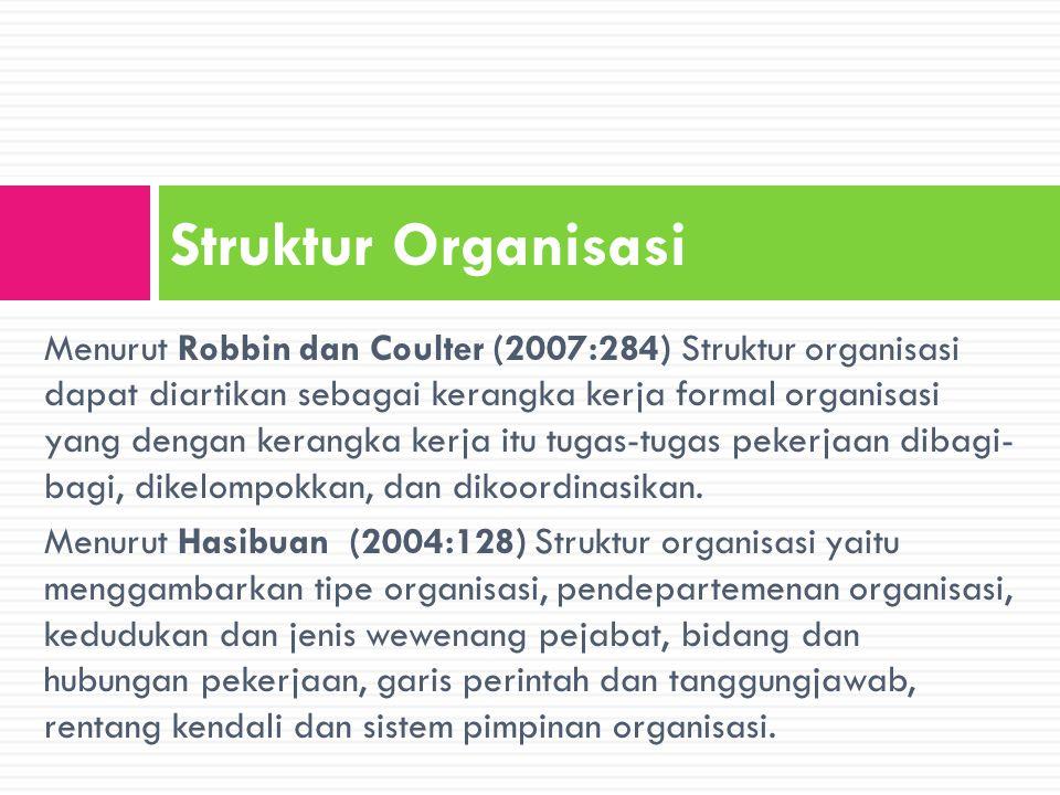 Komponen Struktur Organisasi Diferensiasi horizontal Diffrensiasi vertical Diferensiasi Spasial Kompleksitas Tingkat sejauh mana sebuah organisasi menyandarkan dirinya pada peraturan dan prosedur untuk mengatur perilaku para pegawainya Formalitas Mempertimbangkan di mana letak dari pusat pengambilan keputusan.