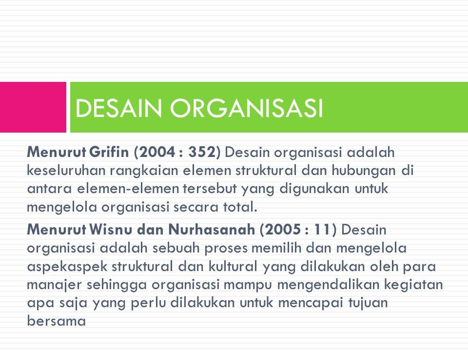 Menurut Grifin (2004 : 352) Desain organisasi adalah keseluruhan rangkaian elemen struktural dan hubungan di antara elemen-elemen tersebut yang diguna