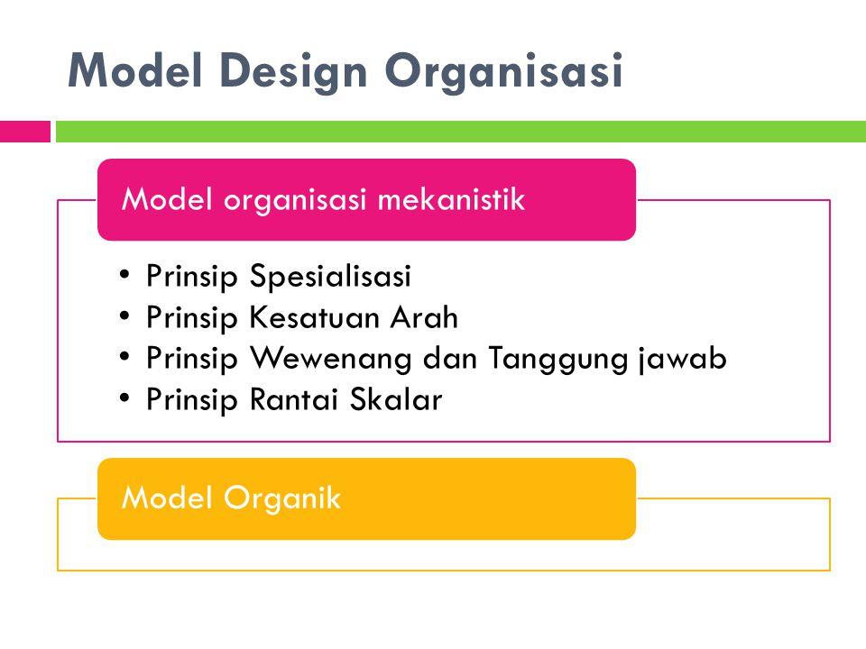 Model Design Organisasi Prinsip Spesialisasi Prinsip Kesatuan Arah Prinsip Wewenang dan Tanggung jawab Prinsip Rantai Skalar Model organisasi mekanist
