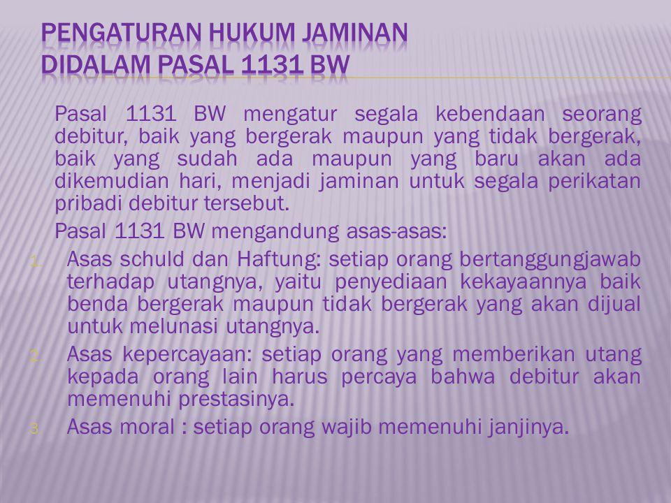 Pasal 1131 BW mengatur segala kebendaan seorang debitur, baik yang bergerak maupun yang tidak bergerak, baik yang sudah ada maupun yang baru akan ada dikemudian hari, menjadi jaminan untuk segala perikatan pribadi debitur tersebut.