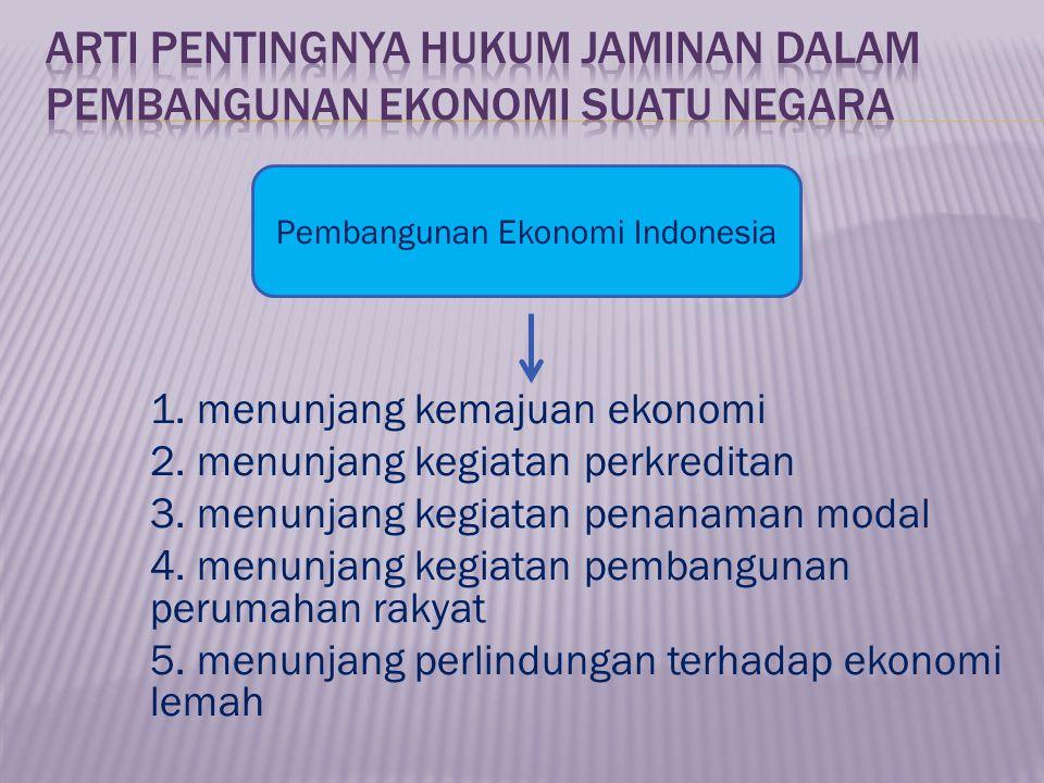 1.menunjang kemajuan ekonomi 2. menunjang kegiatan perkreditan 3.