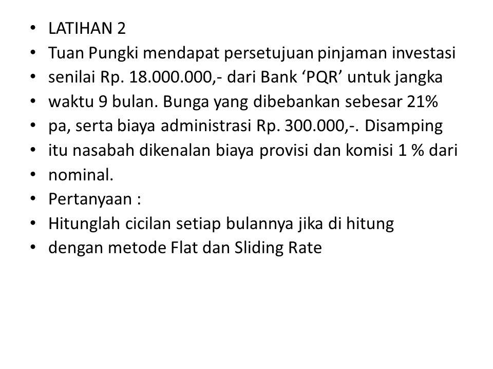 LATIHAN 2 Tuan Pungki mendapat persetujuan pinjaman investasi senilai Rp. 18.000.000,- dari Bank 'PQR' untuk jangka waktu 9 bulan. Bunga yang dibebank
