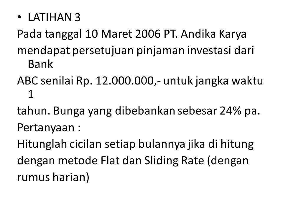 LATIHAN 3 Pada tanggal 10 Maret 2006 PT. Andika Karya mendapat persetujuan pinjaman investasi dari Bank ABC senilai Rp. 12.000.000,- untuk jangka wakt