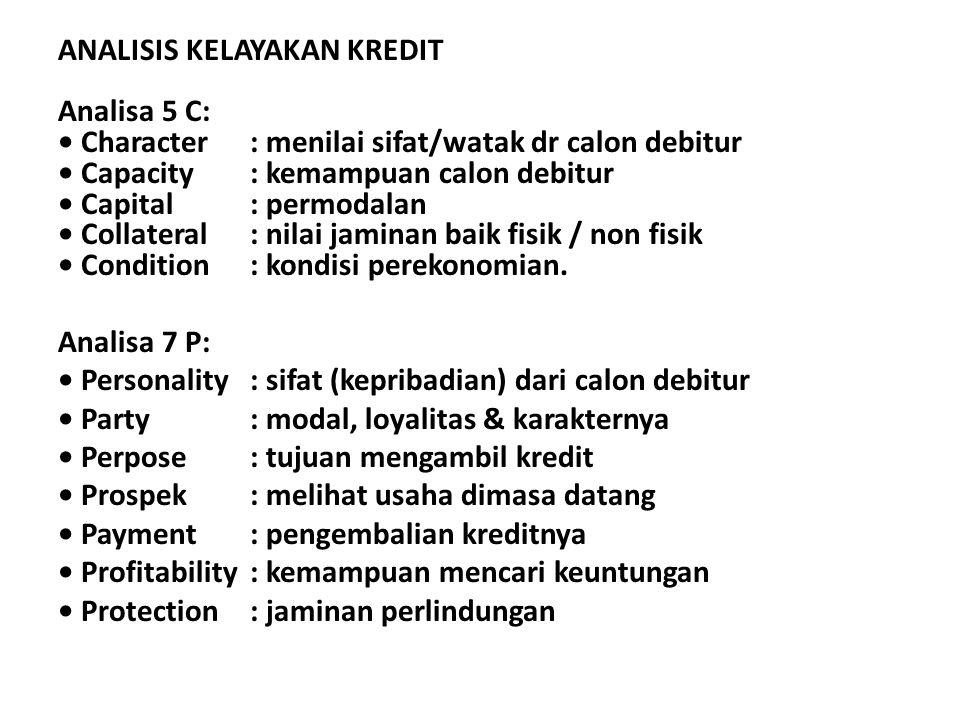 ANALISIS KELAYAKAN KREDIT Analisa 5 C: Character: menilai sifat/watak dr calon debitur Capacity : kemampuan calon debitur Capital : permodalan Collate
