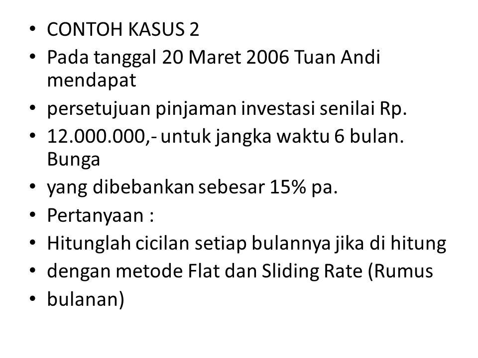 CONTOH KASUS 2 Pada tanggal 20 Maret 2006 Tuan Andi mendapat persetujuan pinjaman investasi senilai Rp. 12.000.000,- untuk jangka waktu 6 bulan. Bunga
