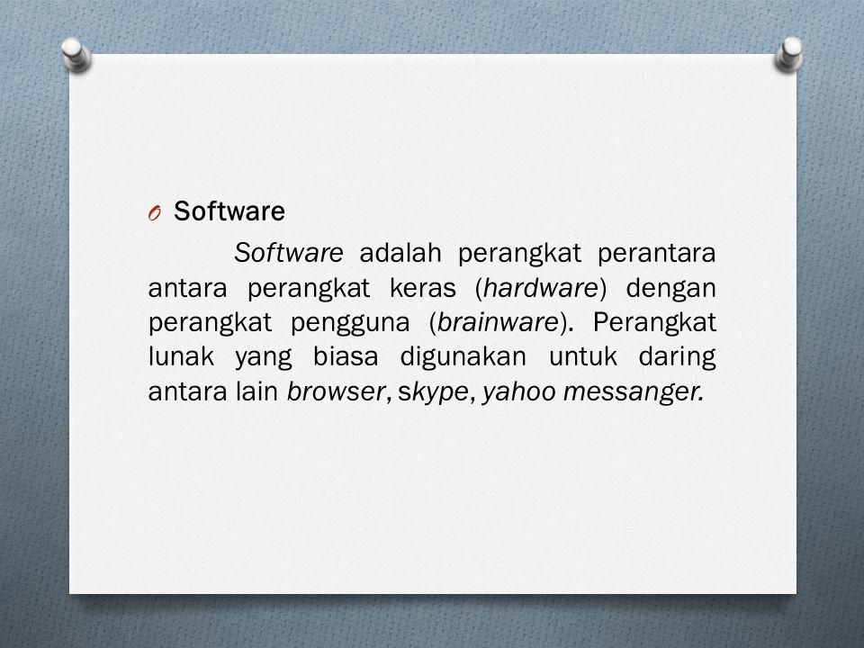 O Software Software adalah perangkat perantara antara perangkat keras (hardware) dengan perangkat pengguna (brainware). Perangkat lunak yang biasa dig