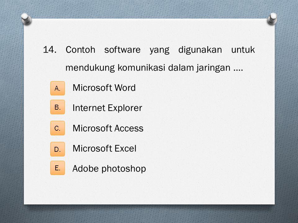 14. Contoh software yang digunakan untuk mendukung komunikasi dalam jaringan …. Microsoft Word Internet Explorer Microsoft Access Microsoft Excel Adob