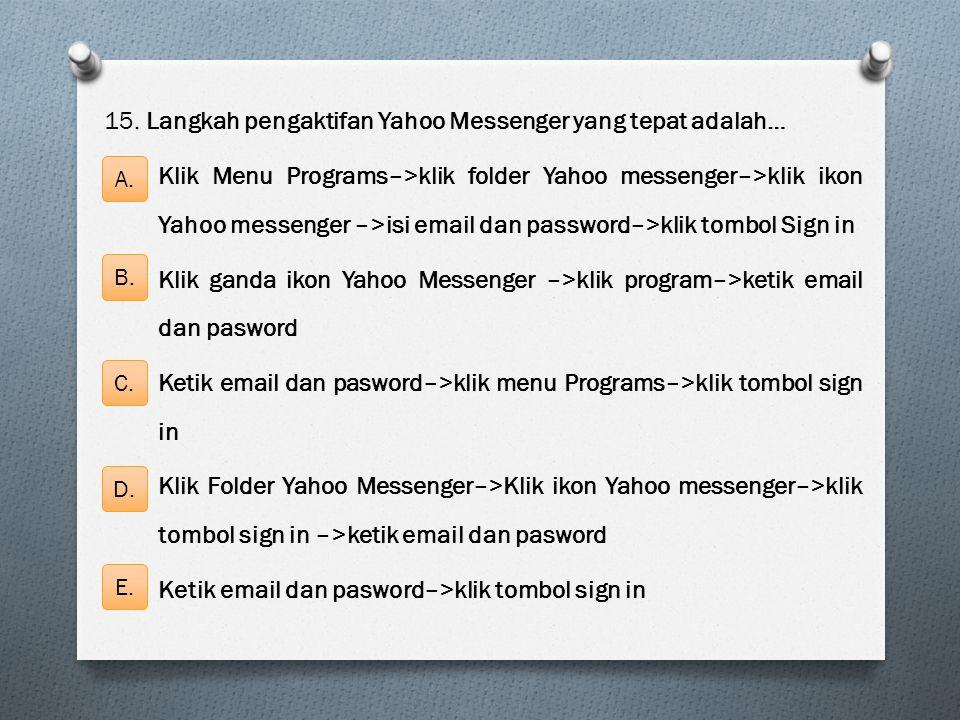 15. Langkah pengaktifan Yahoo Messenger yang tepat adalah… Klik Menu Programs–>klik folder Yahoo messenger–>klik ikon Yahoo messenger –>isi email dan