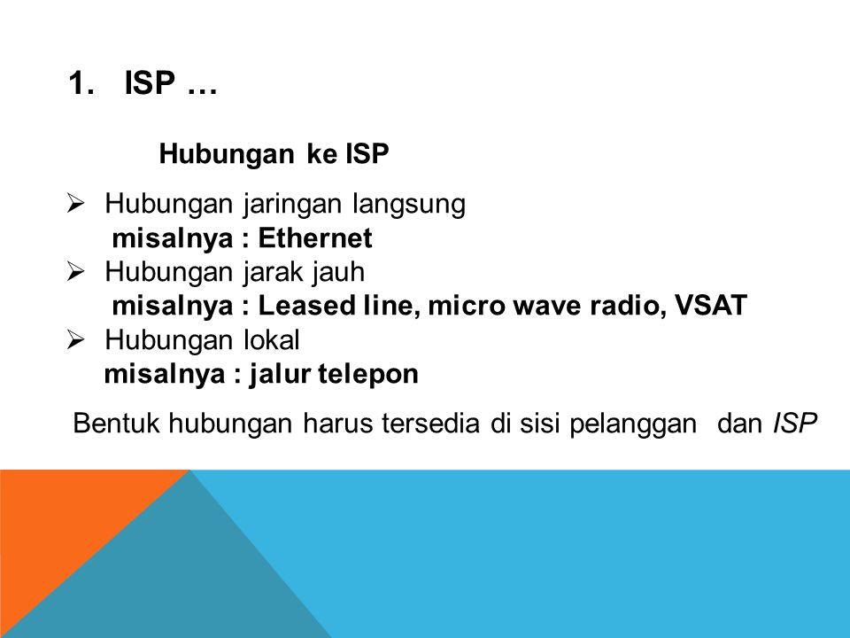 1.ISP (Internet Service Provider)  Merupakan perusahaan jasa yang menginvestasikan modalnya untuk membangun jaringan dan menyewa- kan kepada pelangga