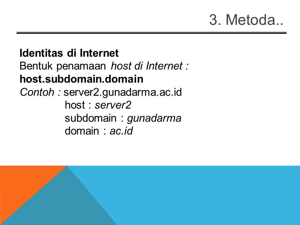 4. Metoda.. Nama Domain com, co : komersial (www.microsoft.com, www.rcti.co.id )www.microsoft.com edu, ac : pendidikan ( www.ucla.edu, www.gunadarma.a