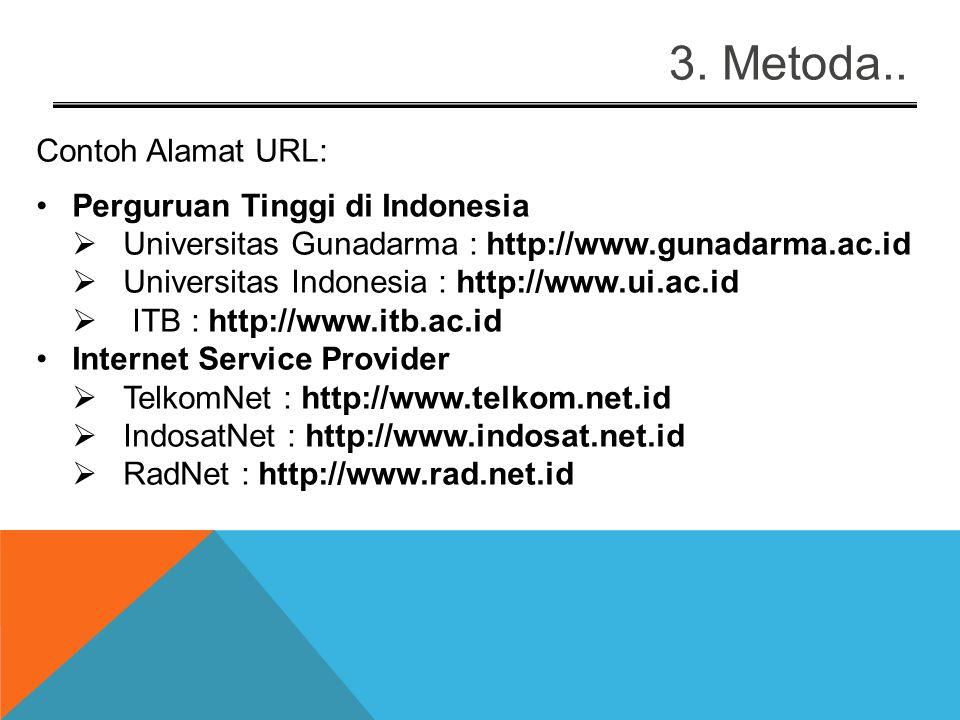 3. Metoda.. Identitas di Internet Bentuk penamaan host di Internet : host.subdomain.domain Contoh : server2.gunadarma.ac.id host : server2 subdomain :