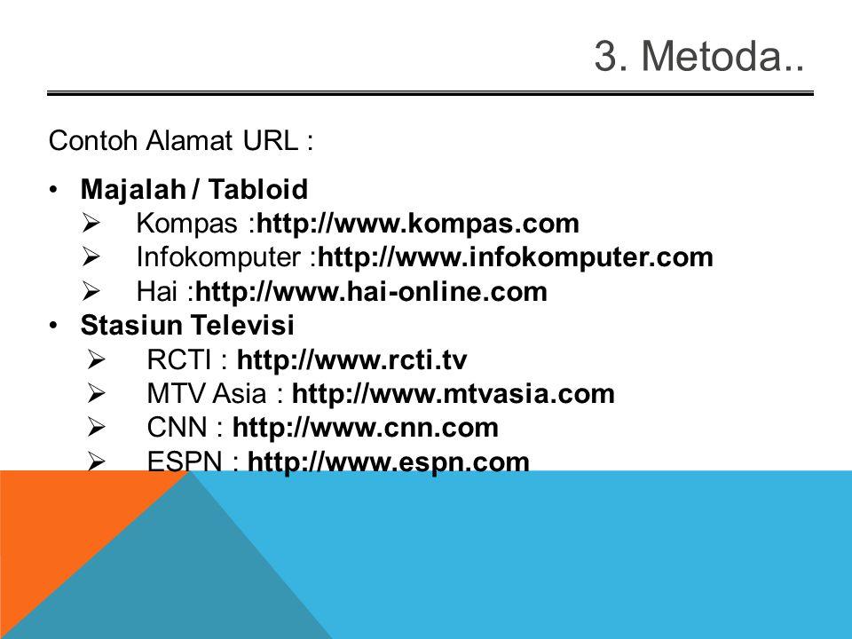 3. Metoda.. Contoh Alamat URL: Perguruan Tinggi di Indonesia  Universitas Gunadarma : http://www.gunadarma.ac.id  Universitas Indonesia : http://www