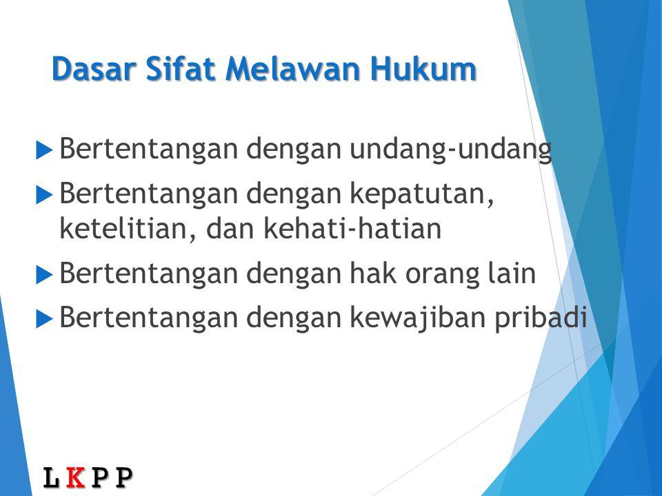 Dasar Sifat Melawan Hukum  Bertentangan dengan undang-undang  Bertentangan dengan kepatutan, ketelitian, dan kehati-hatian  Bertentangan dengan hak