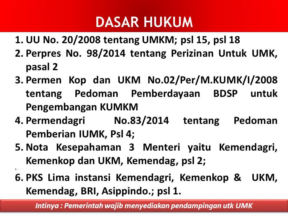 1.UU No.20/2008 tentang UMKM; psl 15, psl 18 2.Perpres No.