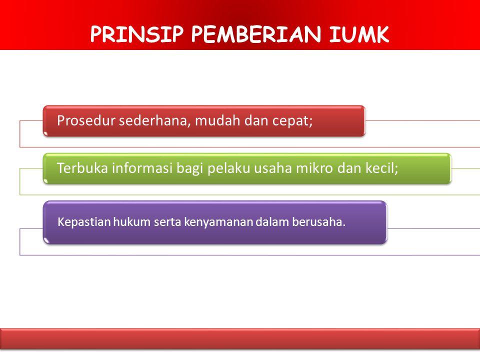 PRINSIP PEMBERIAN IUMK Prosedur sederhana, mudah dan cepat; Terbuka informasi bagi pelaku usaha mikro dan kecil; Kepastian hukum serta kenyamanan dalam berusaha.