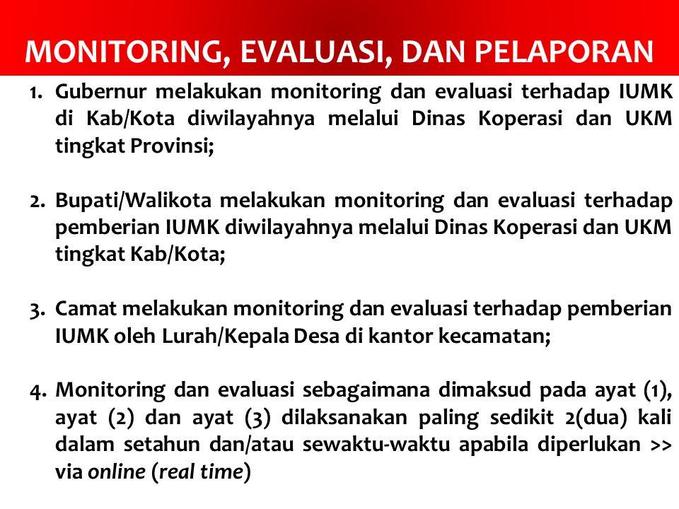 MONITORING, EVALUASI, DAN PELAPORAN 1.Gubernur melakukan monitoring dan evaluasi terhadap IUMK di Kab/Kota diwilayahnya melalui Dinas Koperasi dan UKM tingkat Provinsi; 2.Bupati/Walikota melakukan monitoring dan evaluasi terhadap pemberian IUMK diwilayahnya melalui Dinas Koperasi dan UKM tingkat Kab/Kota; 3.Camat melakukan monitoring dan evaluasi terhadap pemberian IUMK oleh Lurah/Kepala Desa di kantor kecamatan; 4.