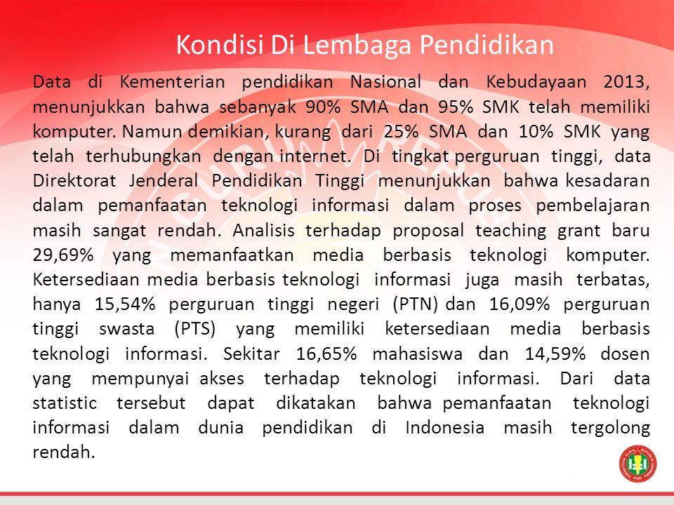 Data di Kementerian pendidikan Nasional dan Kebudayaan 2013, menunjukkan bahwa sebanyak 90% SMA dan 95% SMK telah memiliki komputer.