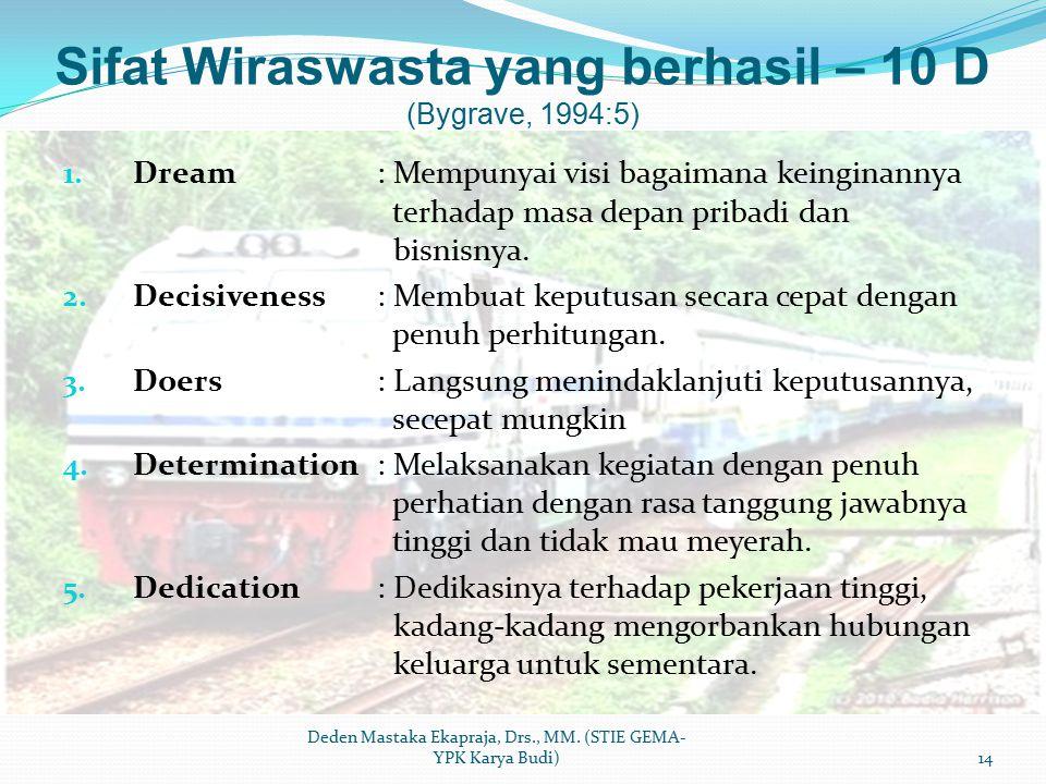 Sifat Wiraswasta yang berhasil – 10 D (Bygrave, 1994:5) 1. Dream: Mempunyai visi bagaimana keinginannya terhadap masa depan pribadi dan bisnisnya. 2.