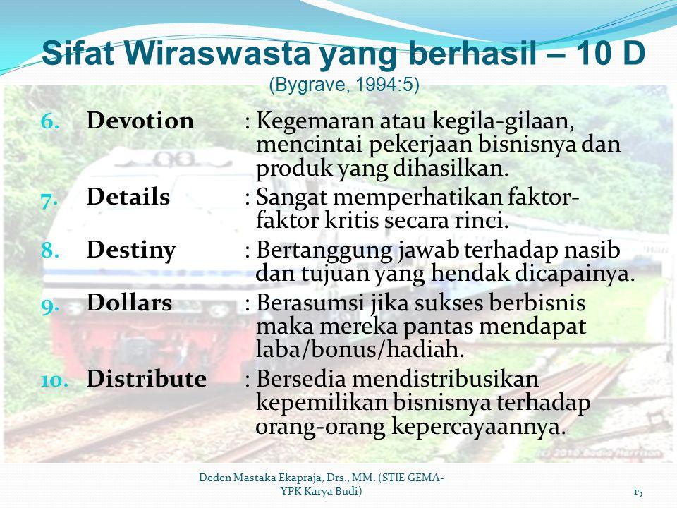Sifat Wiraswasta yang berhasil – 10 D (Bygrave, 1994:5) 6. Devotion: Kegemaran atau kegila-gilaan, mencintai pekerjaan bisnisnya dan produk yang dihas