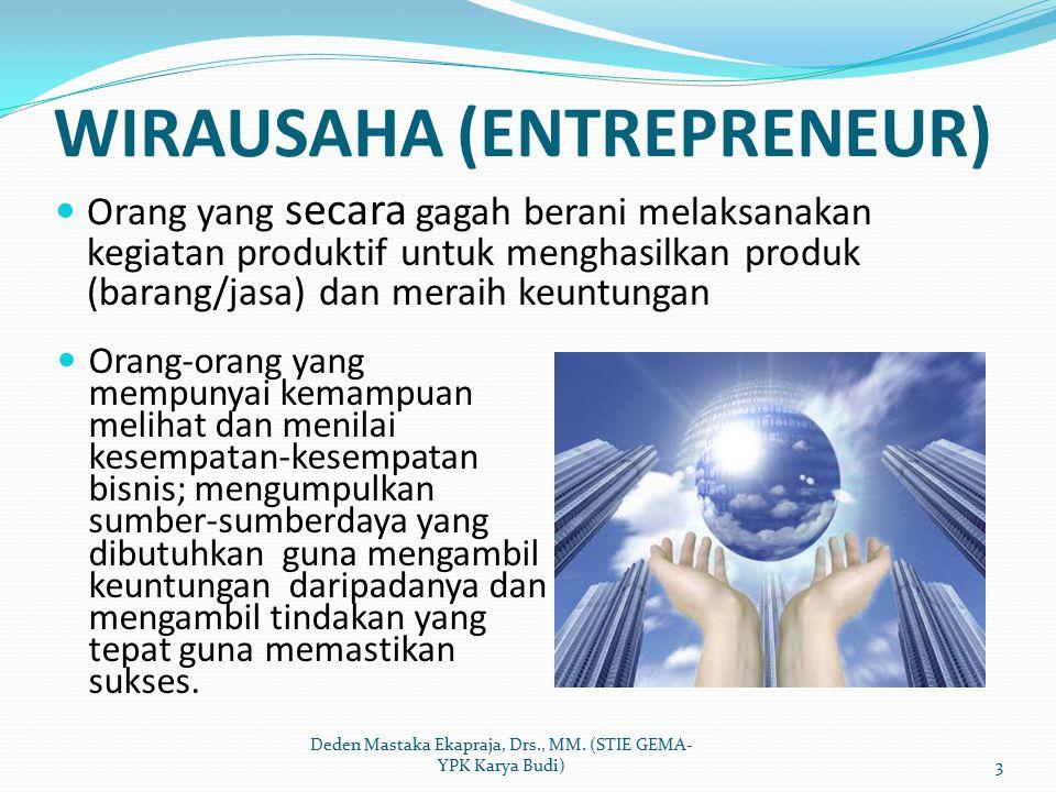 WIRAUSAHA (ENTREPRENEUR) Orang yang secara gagah berani melaksanakan kegiatan produktif untuk menghasilkan produk (barang/jasa) dan meraih keuntungan