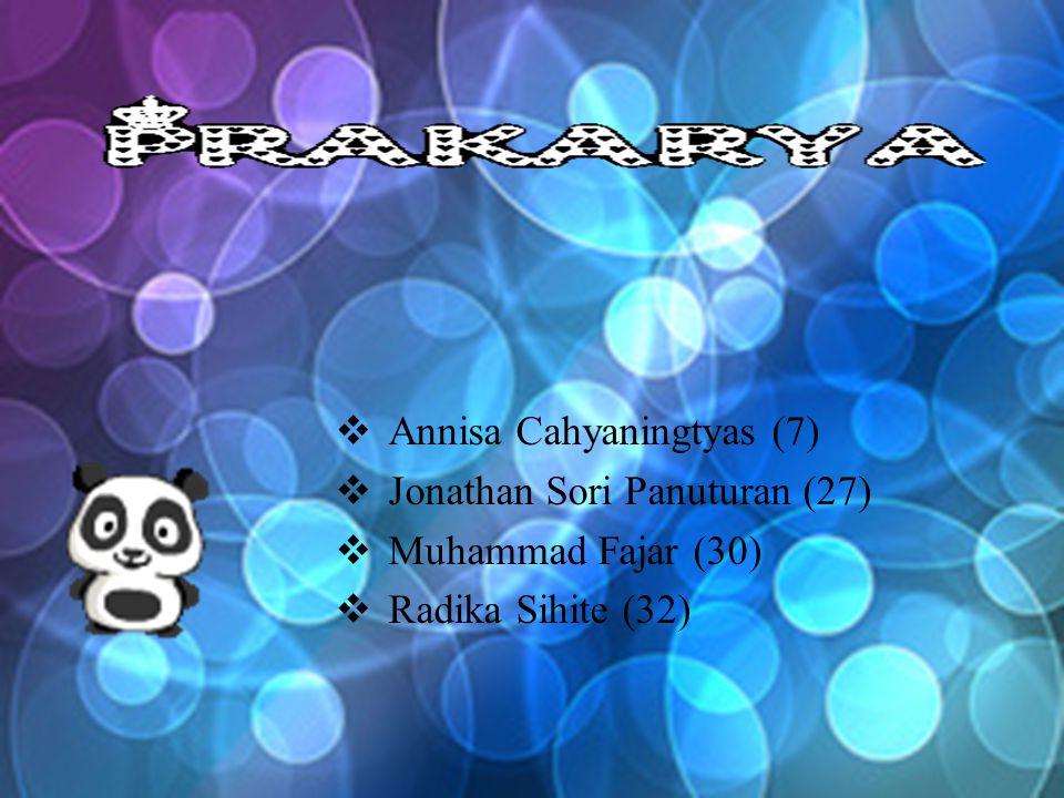  Annisa Cahyaningtyas (7)  Jonathan Sori Panuturan (27)  Muhammad Fajar (30)  Radika Sihite (32)