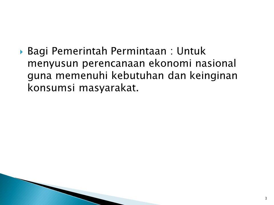  Bagi Pemerintah Permintaan : Untuk menyusun perencanaan ekonomi nasional guna memenuhi kebutuhan dan keinginan konsumsi masyarakat.