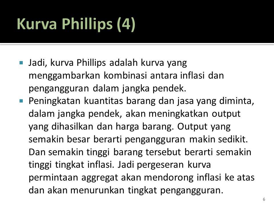  Jadi, kurva Phillips adalah kurva yang menggambarkan kombinasi antara inflasi dan pengangguran dalam jangka pendek.  Peningkatan kuantitas barang d
