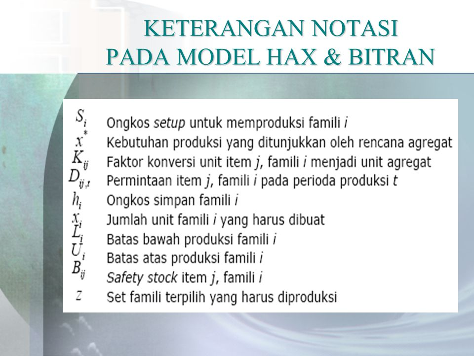 KETERANGAN NOTASI PADA MODEL HAX & BITRAN