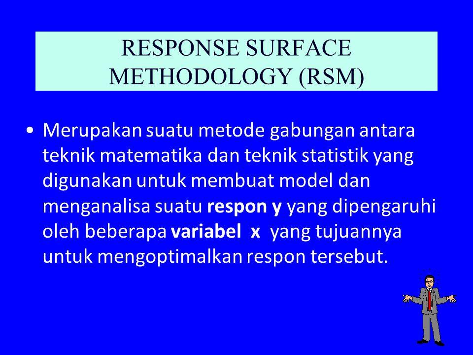 RESPONSE SURFACE METHODOLOGY (RSM) Merupakan suatu metode gabungan antara teknik matematika dan teknik statistik yang digunakan untuk membuat model da
