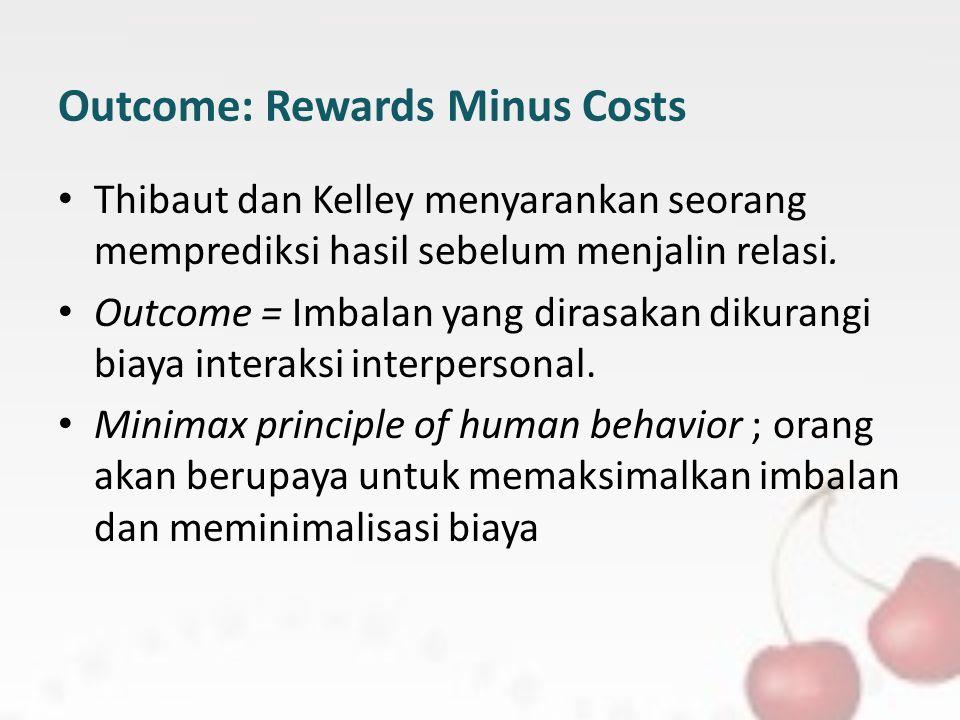 Outcome: Rewards Minus Costs Thibaut dan Kelley menyarankan seorang memprediksi hasil sebelum menjalin relasi. Outcome = Imbalan yang dirasakan dikura