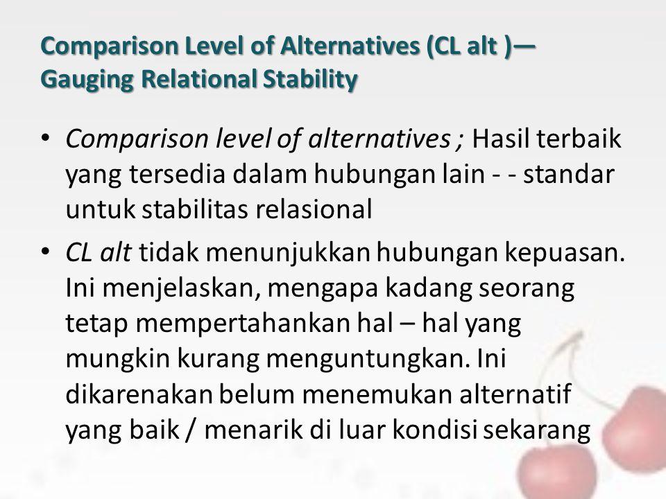 Comparison Level of Alternatives (CL alt )— Gauging Relational Stability Comparison level of alternatives ; Hasil terbaik yang tersedia dalam hubungan