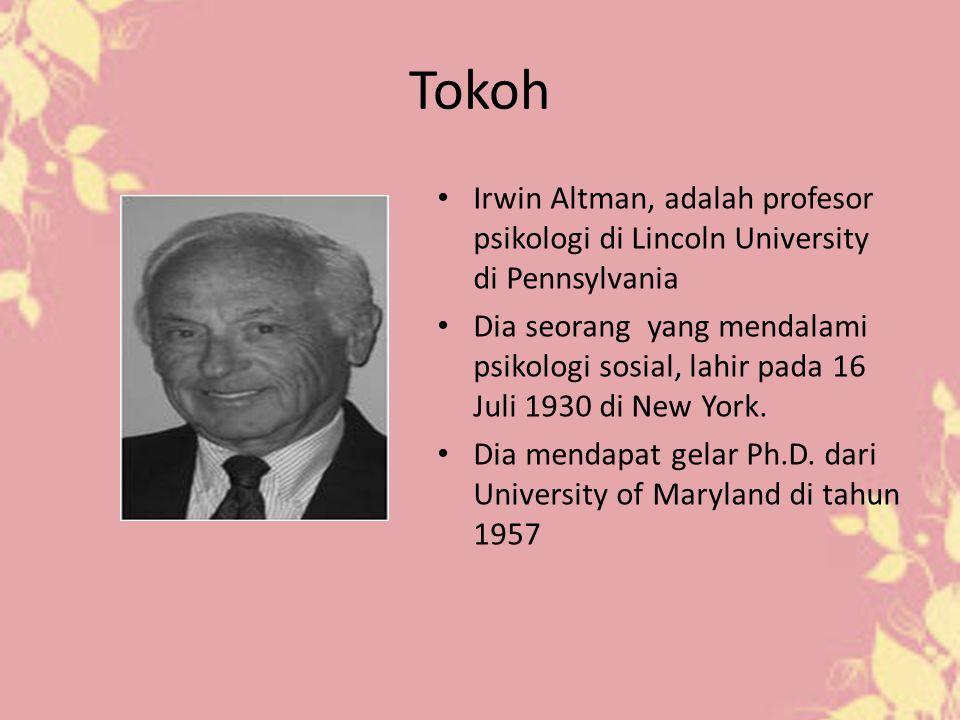 Tokoh Irwin Altman, adalah profesor psikologi di Lincoln University di Pennsylvania Dia seorang yang mendalami psikologi sosial, lahir pada 16 Juli 19