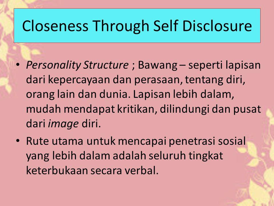 Self Disclosure ; secara sukarela berbagi tentang sejarah personal, preferensi (yang disukai), sikap, perasaan, nilai, rahasia, dsb dengan orang lain – transparansi.