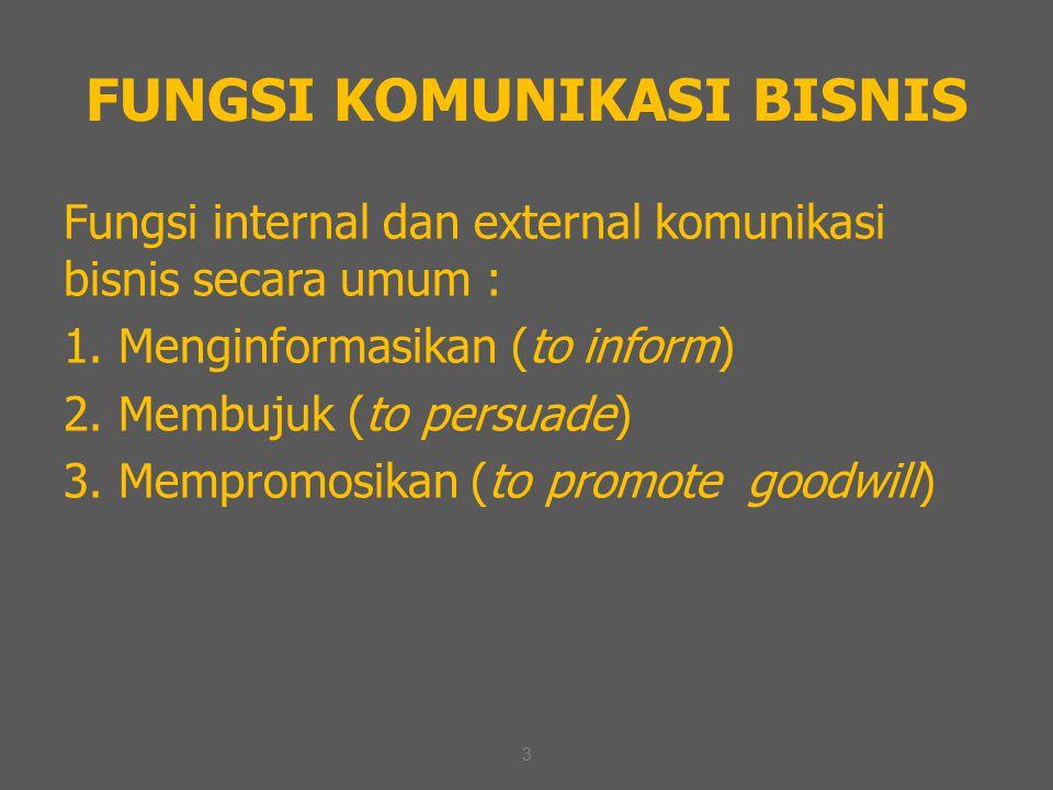 3 FUNGSI KOMUNIKASI BISNIS Fungsi internal dan external komunikasi bisnis secara umum : 1. Menginformasikan (to inform) 2. Membujuk (to persuade) 3. M